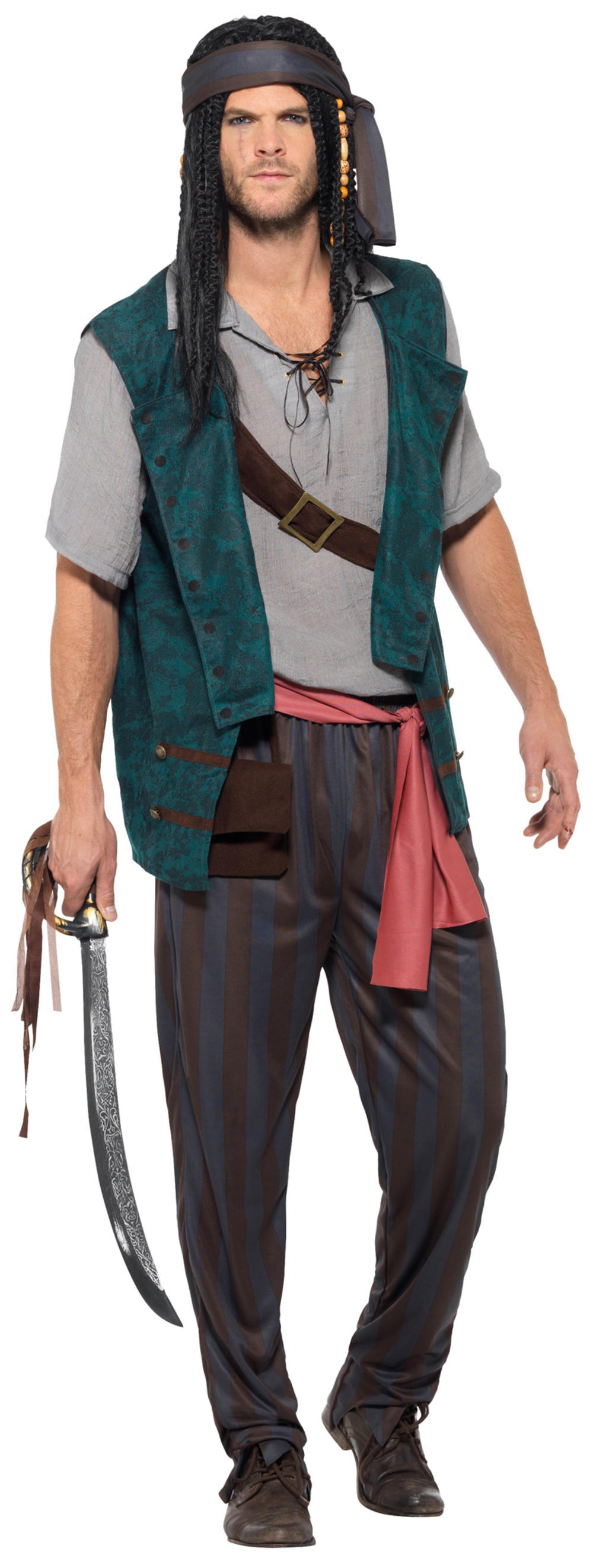 Pirate Deckhand Mens Fancy Dress Caribbean World Book Day Adults Costume Outfit