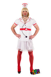 Novelty Naught Nurse Mens Fancy Dress Stag Night Party Funny Adults Costume New