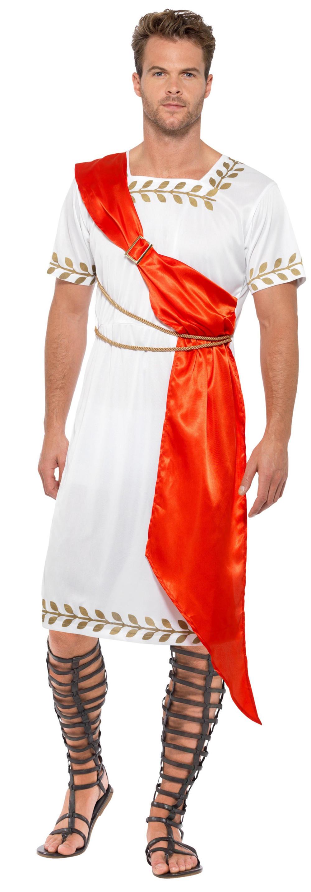 Roman Senator Mens Fancy Dress Ancient Greek Julius Caesar Adults Costume Outfit