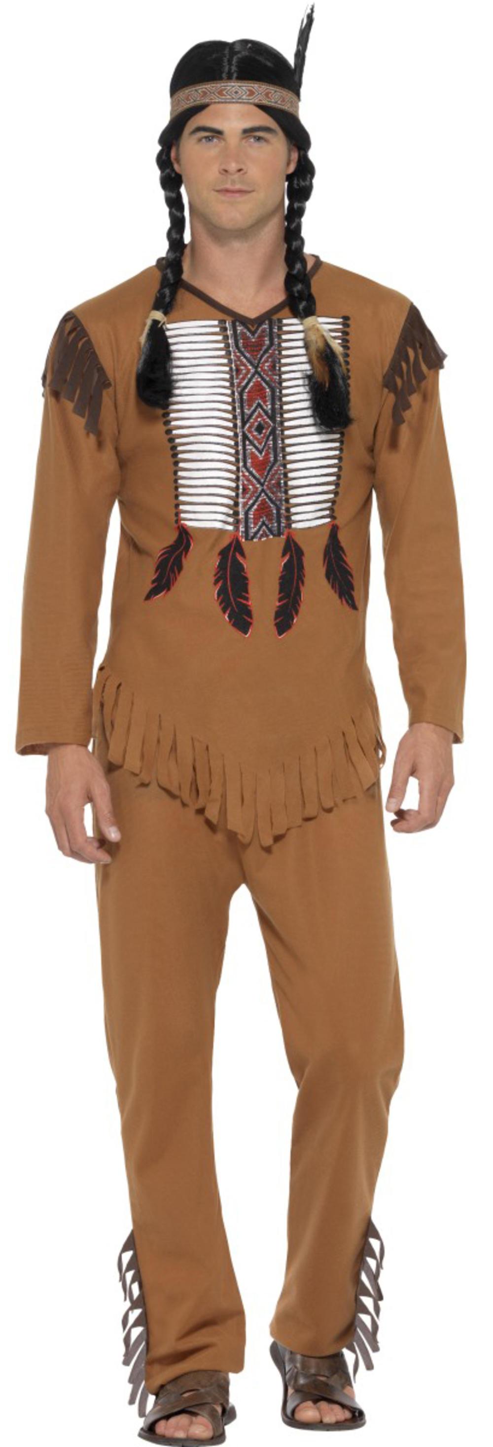 Native American Mens Fancy Dress Wild West Western Tribal Warrior Adults Costume