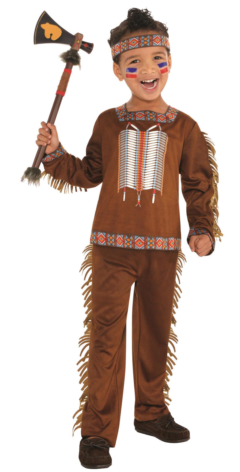 Native American Boys Fancy Dress Wild Western Red Indian Kids Childrens Costume