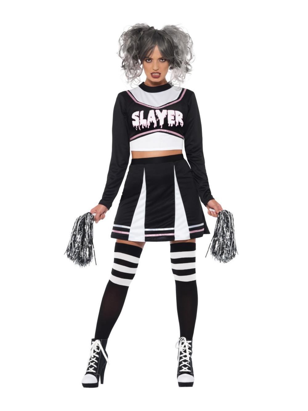 Fever Gothic Cheerleader Ladies Fancy Dress Halloween Vampire Womens Costume New