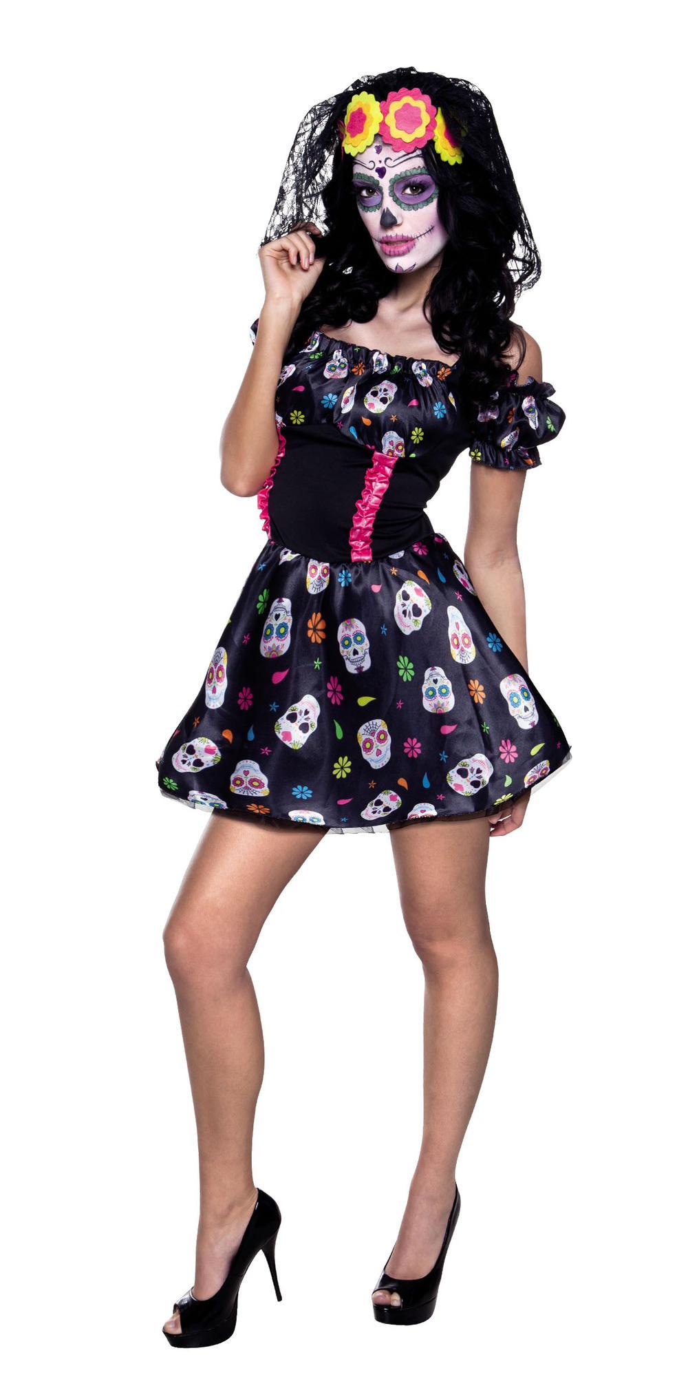 Mrs Day of the Dead Ladies Fancy Dress Halloween Womens Skeleton Adults Costume