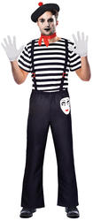 Mr Mime Artist Mens Fancy Dress French Carnival Street Circus Adults Costume New
