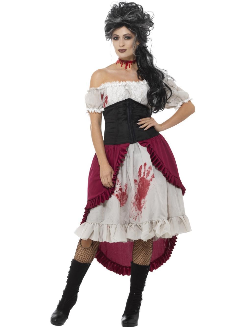 Victorian Slasher Victim Ladies Fancy Dress Jack Ripper Halloween Adults Costume