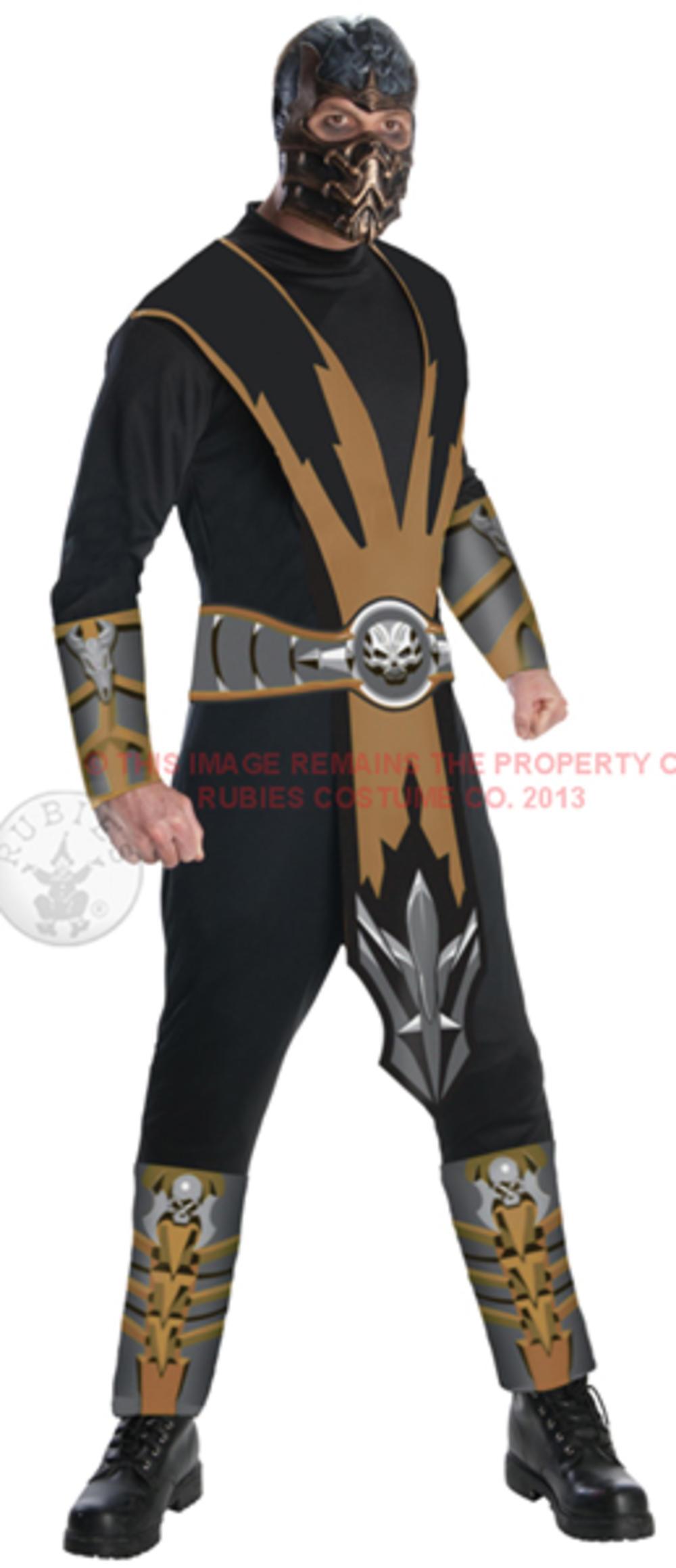 Mortal Kombat Mens Costume + Mask Scorpion Ninja Samurai Adults 90s Fancy Dress
