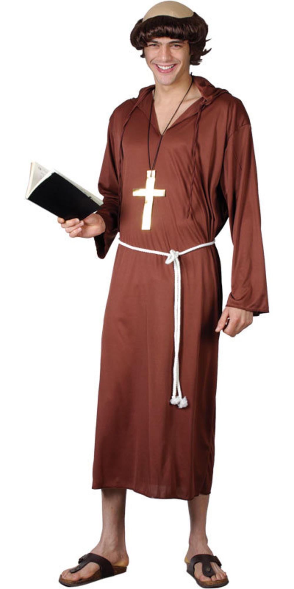Monk of the Abbey Robe Mens Fancy Dress Medieval Priest Friar Tuck Adult Costume