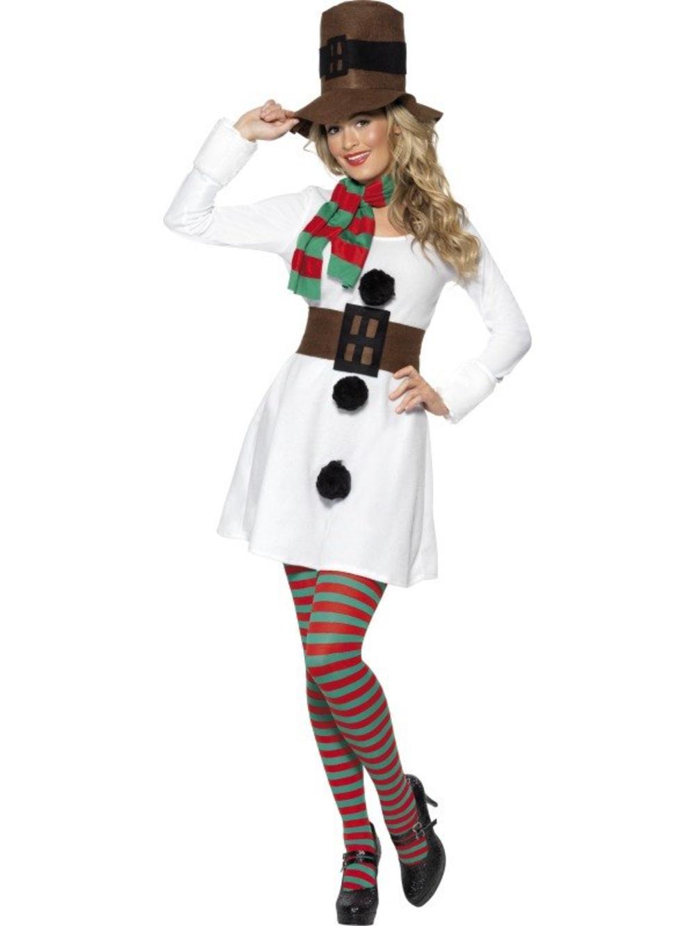 Miss Snowman Ladies Christmas Fancy Dress Festive Xmas Novelty Holiday Costume