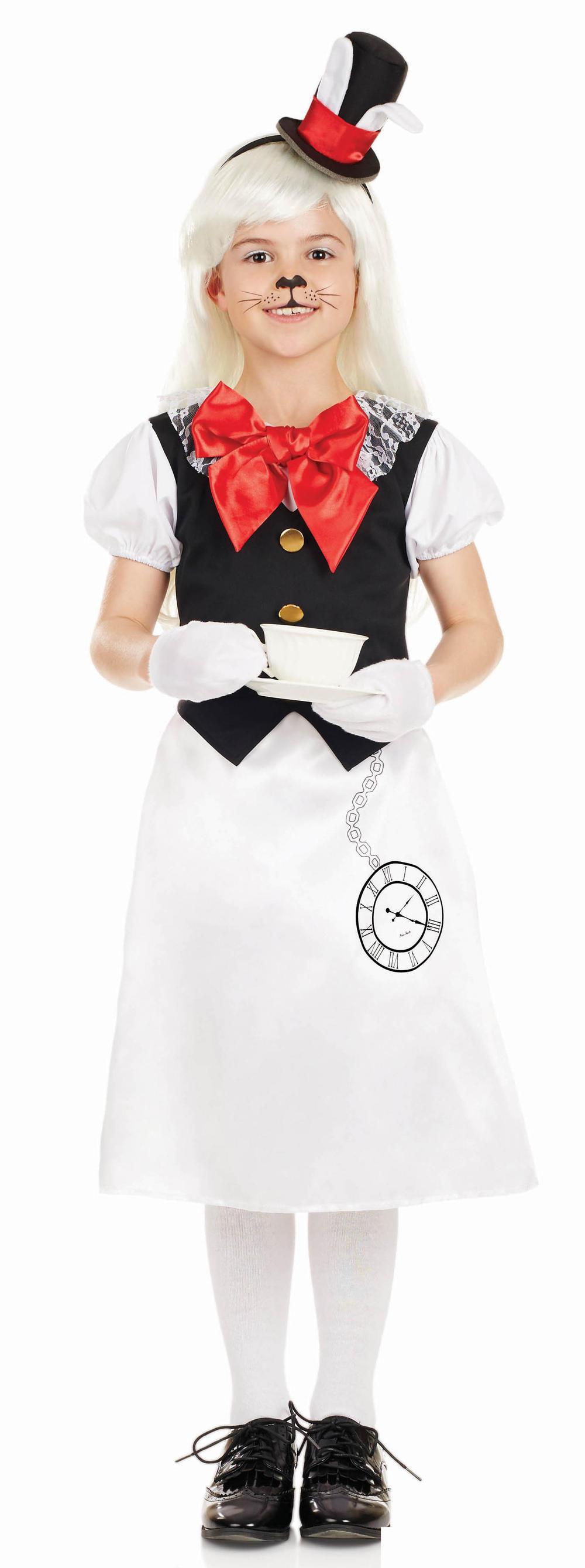 Miss White Rabbit Girls Fancy Dress Wonderland Fairy Tale Book Day Kids Costume