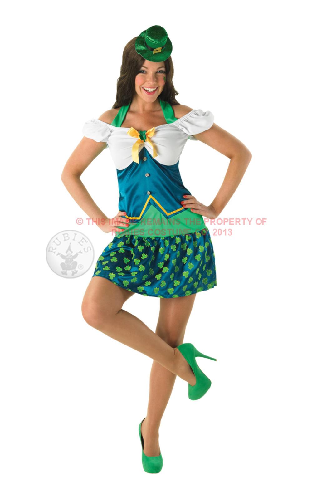 Miss Leprechaun Ladies Irish St Patrick's Day Fancy National Dress Costume + Hat