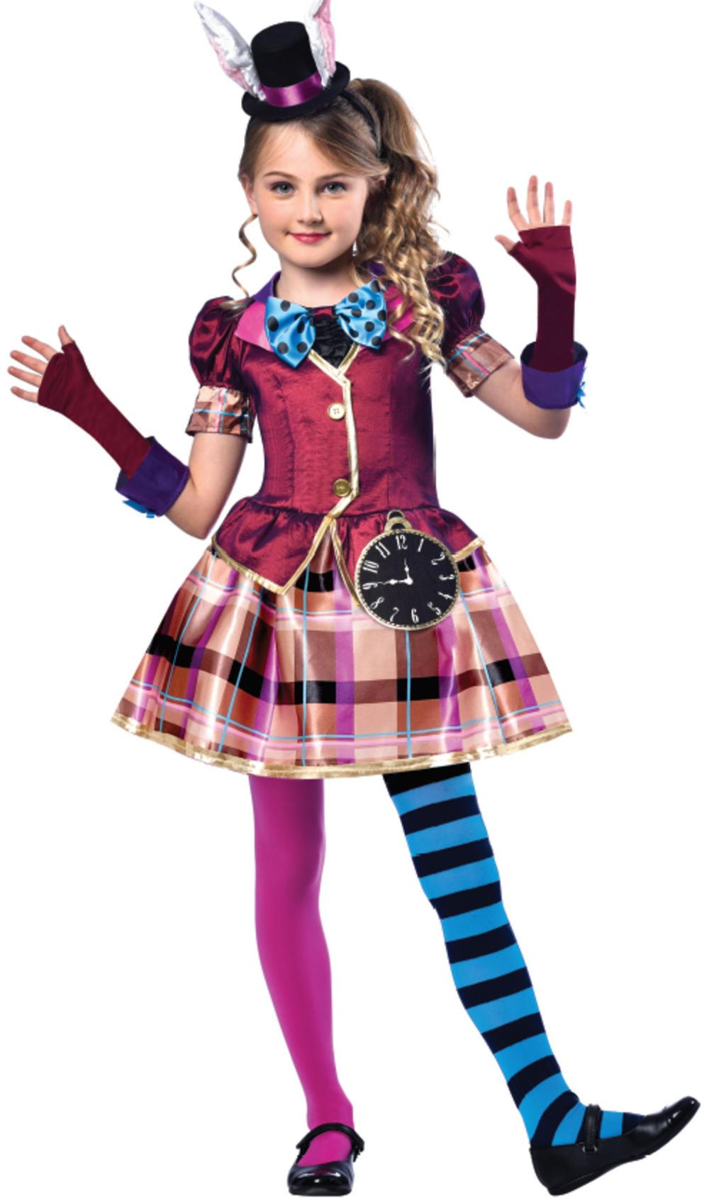 Miss Mad Hatter Girls Fancy Dress Fairy Tale Book Day Week Childrens Kid Costume