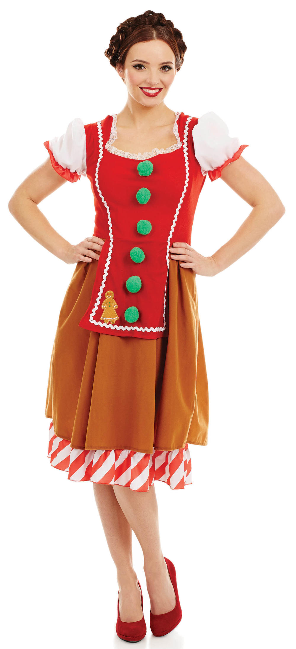 Miss Gingerbread Ladies Fancy Dress Festive Christmas Food Adults Costume Outfit