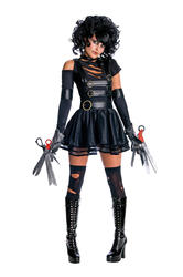 Miss Edward Scissorhands + Wig Fancy Dress Ladies Halloween Womens Costume 6-14
