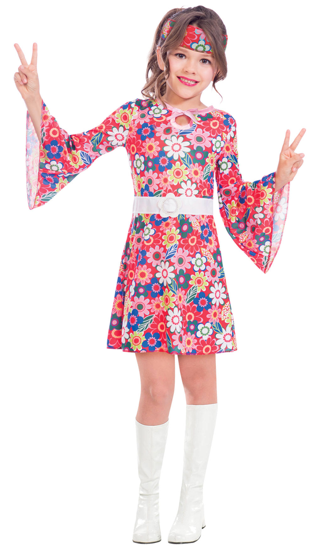 Miss 60s Hippie Girls Fancy Dress Peace Hippy 70s Childrens Kids Costume Outfit