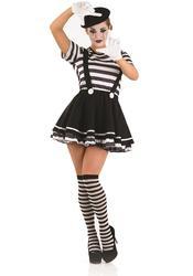 Mime Artiste Ladies Fancy Dress Ladies French Circus Pierrot Clown Women Costume