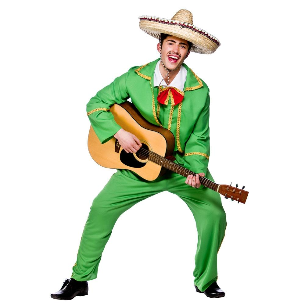 Mexican Tortilla Guy Mens Fancy Dress National Mariachi Singer Adults Costume