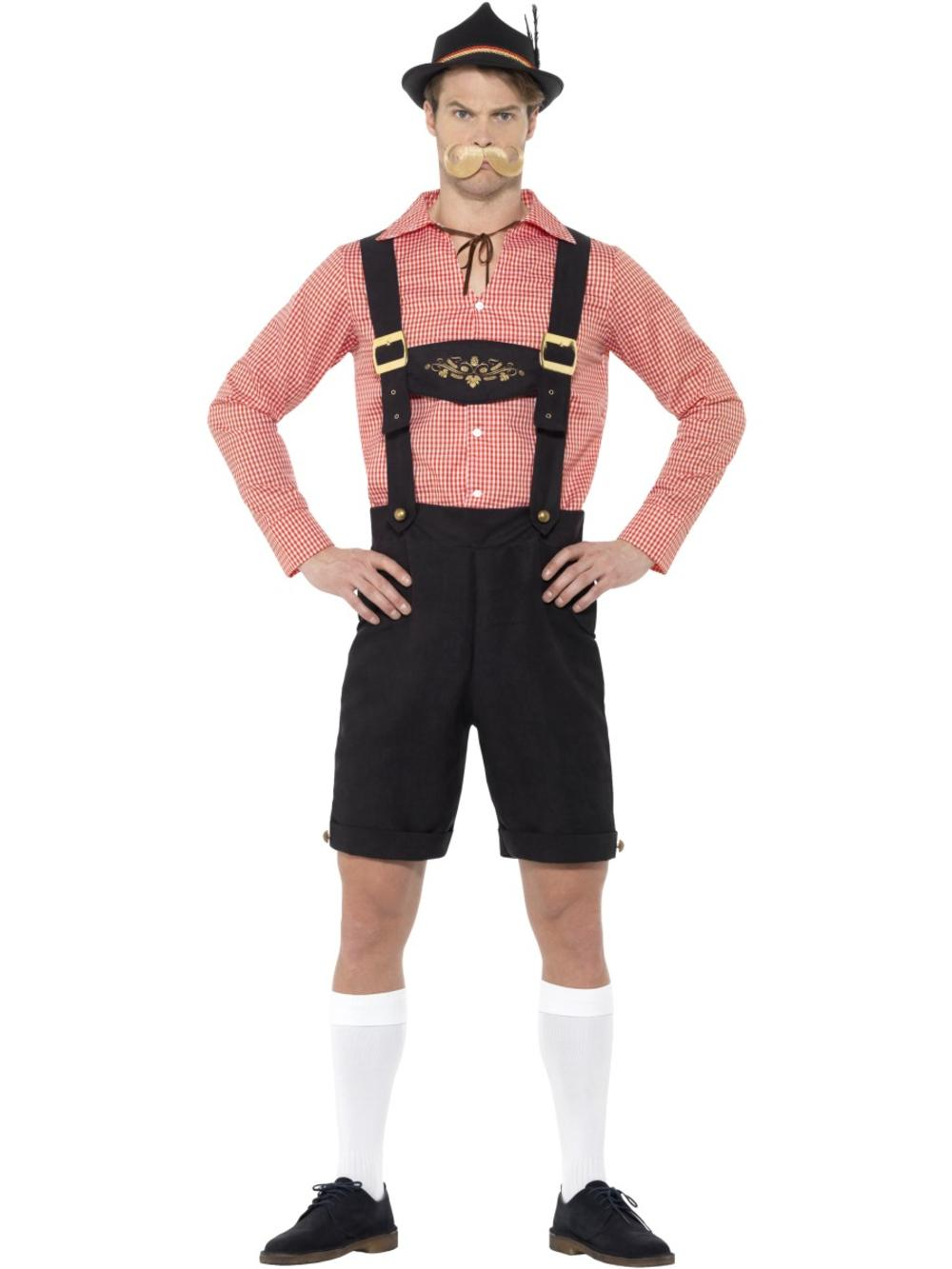 Oktoberfest Mens Fancy Dress Bavarian Lederhosen German Man Beer Adults Costume
