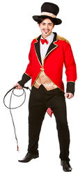 Circus Ringmaster + Hat Mens Fancy Dress Lion Tamer Uniform Adult Costume Outfit
