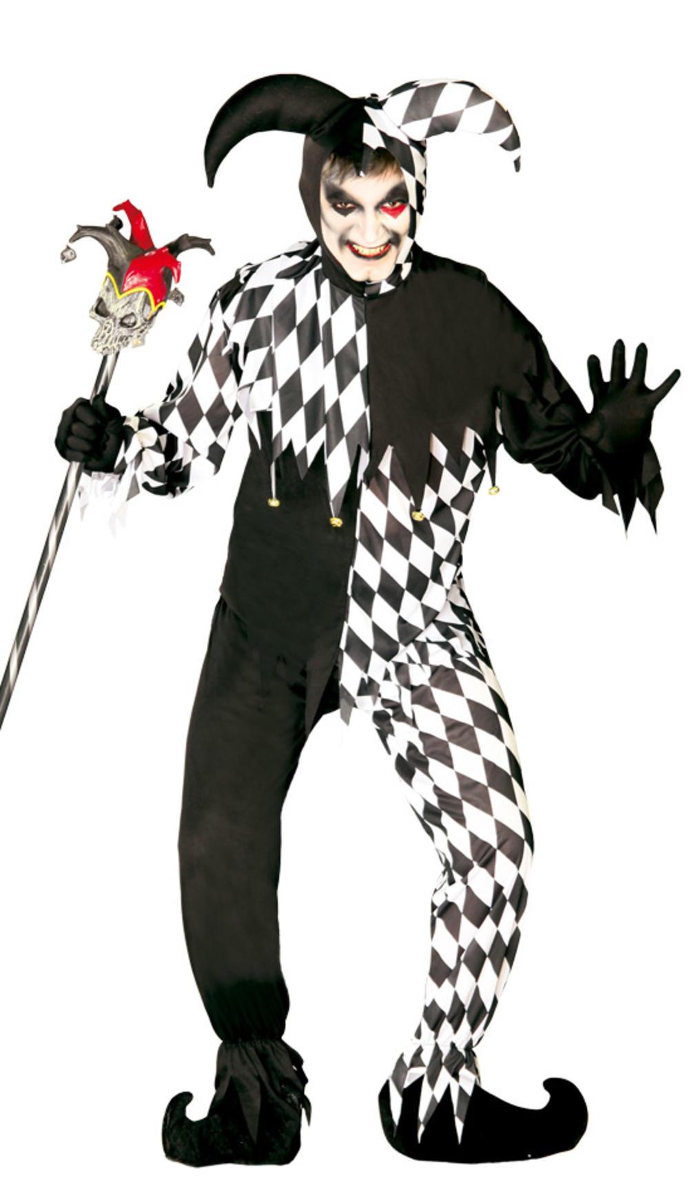 Evil Jester Joker Mens Fancy Dress Clown Adults Circus Halloween Costume Outfit