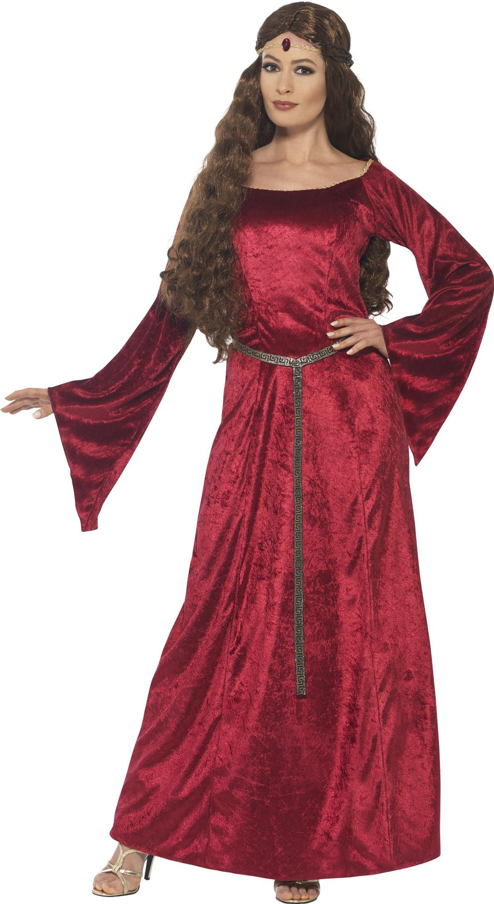Red Medieval Maid Ladies Fancy Dress Princess Adults Marian Costume Outfit New