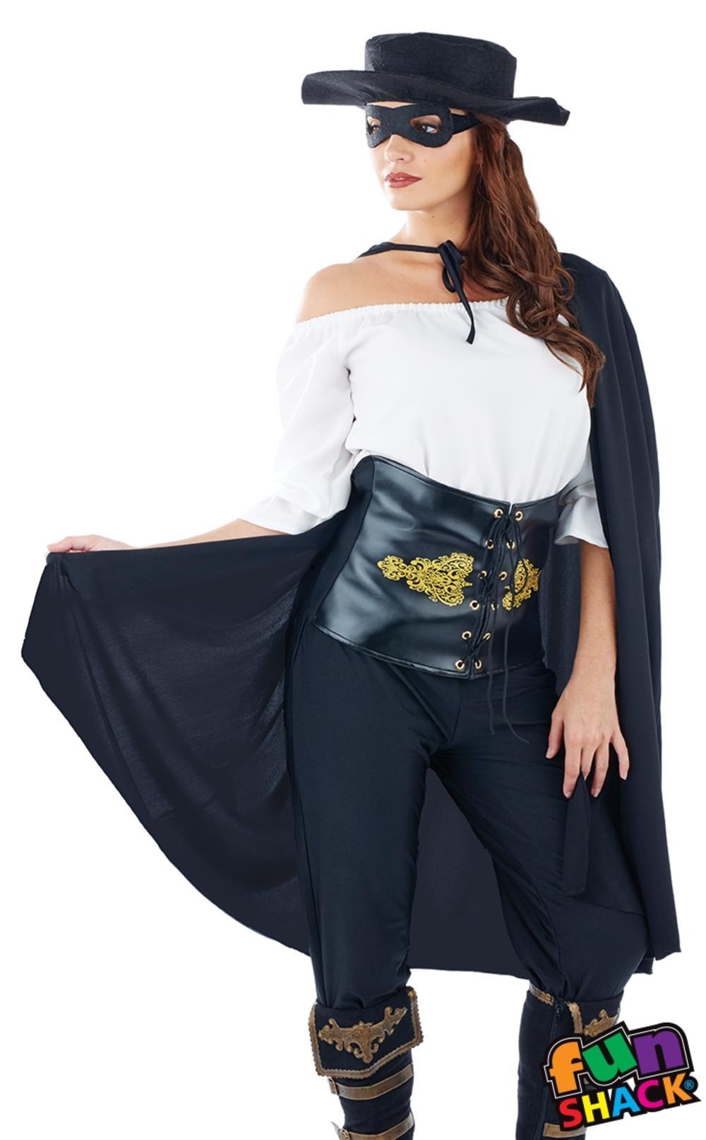 Masked Senorita Ladies Fancy Dress Spanish Mexican Heroine Bandit Adults Costume
