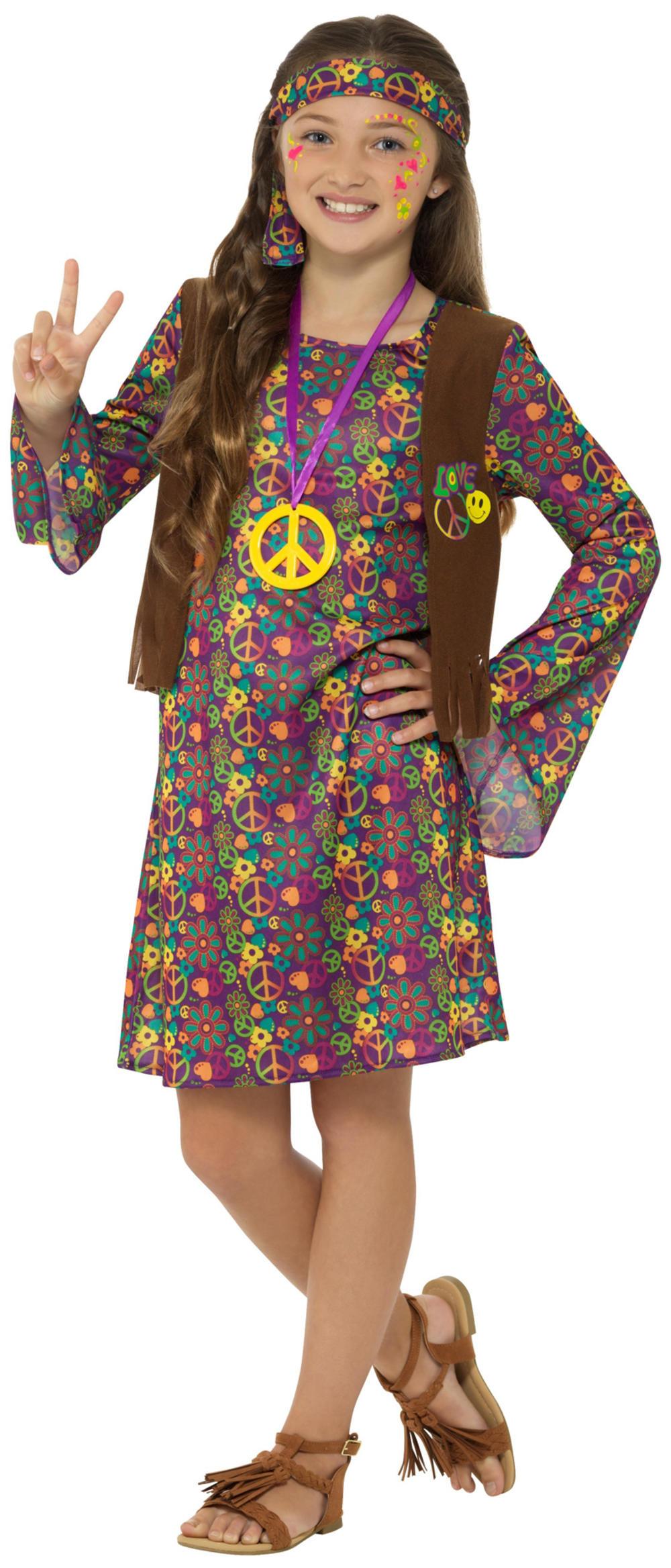 Hippie Girls Fancy Dress 1960s 1970s Peace Flower Power Hippy Kids Child Costume