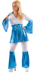 Mama Mia Ladies 1970s Fancy Dress Womens 70s Disco Costume Adults Outfit 10-24