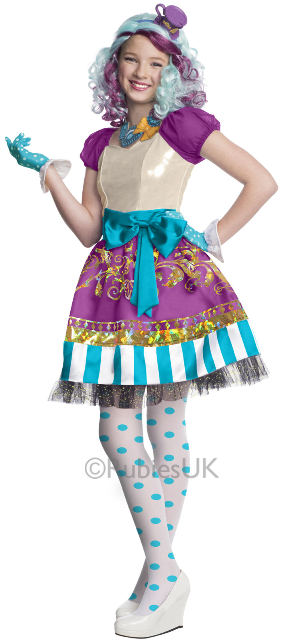 Maddeline Hatter Girls Fancy Dress Ever After High Kids Child Fairy Tale Costume