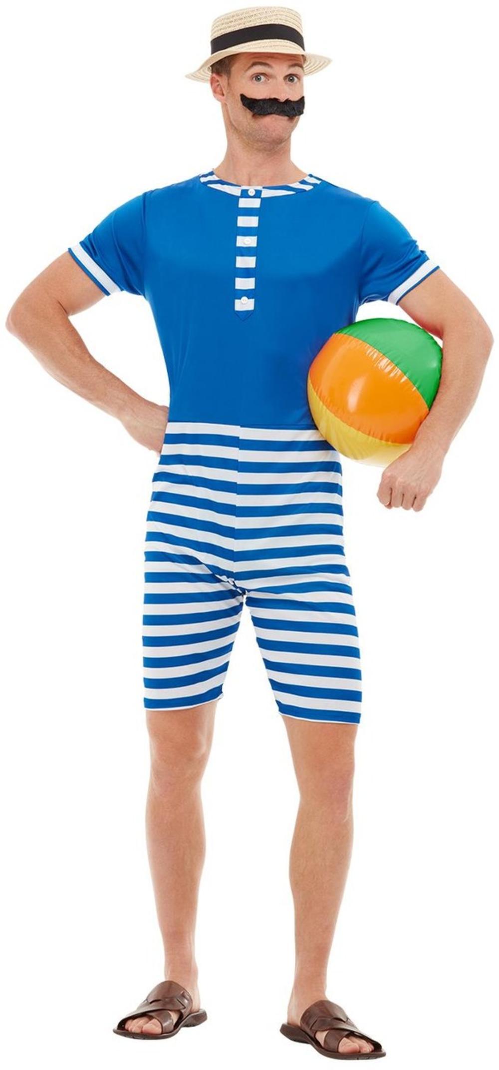 20s Bathing Suit Mens Fancy Dress Vintage 1920s Beach Swimming Adults Costume