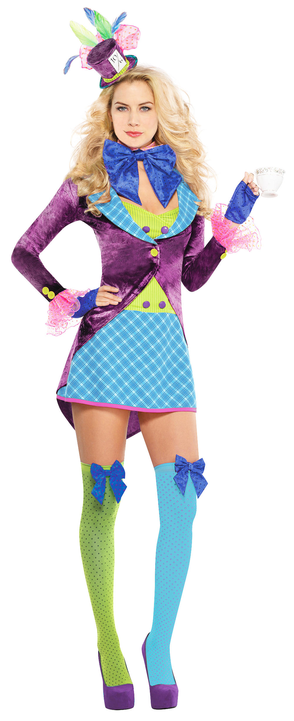 Mad Hatter Ladies Fancy Dress Halloween Book Day Week Womens Costume Outfit New