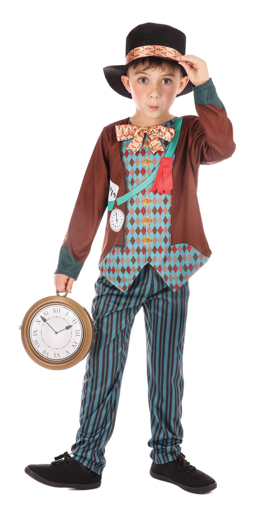 Mad Hatter Boys Fancy Dress Wonderland Fairy Tale Kids World Book Day Costume