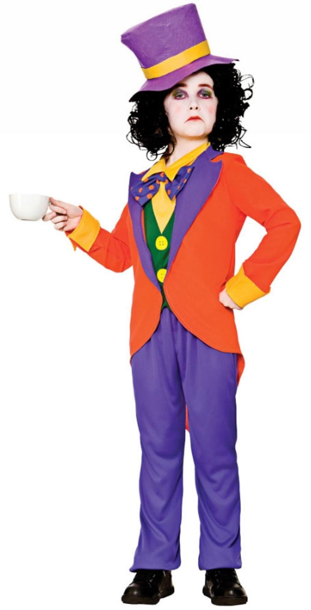 Mad Hatter Boys Fancy Dress Wonderland Fairy Tale Kids Book Day Week Costume