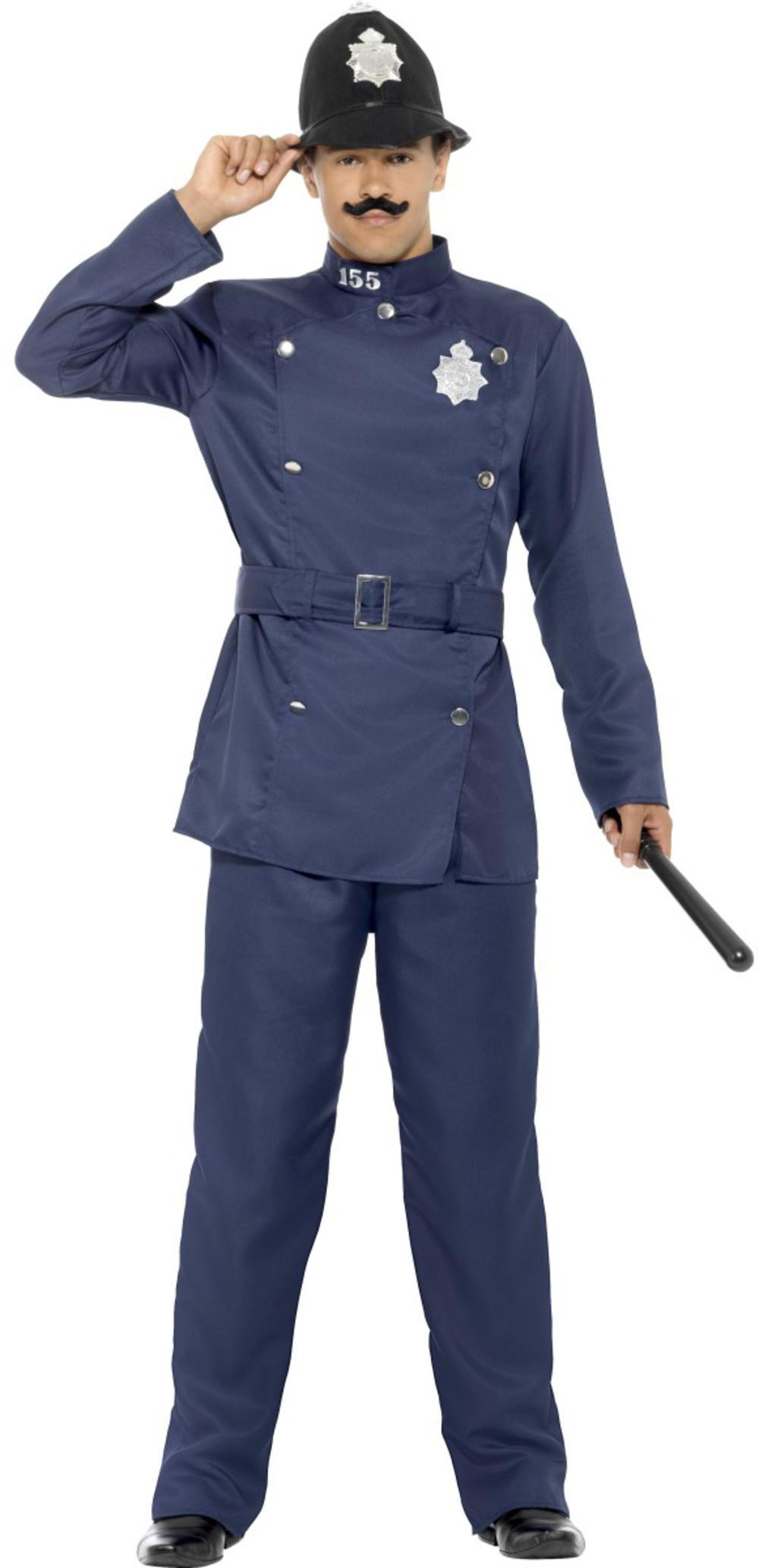 London Bobby Mens Fancy Dress Policeman Officer Uniform Occupation Adult Costume