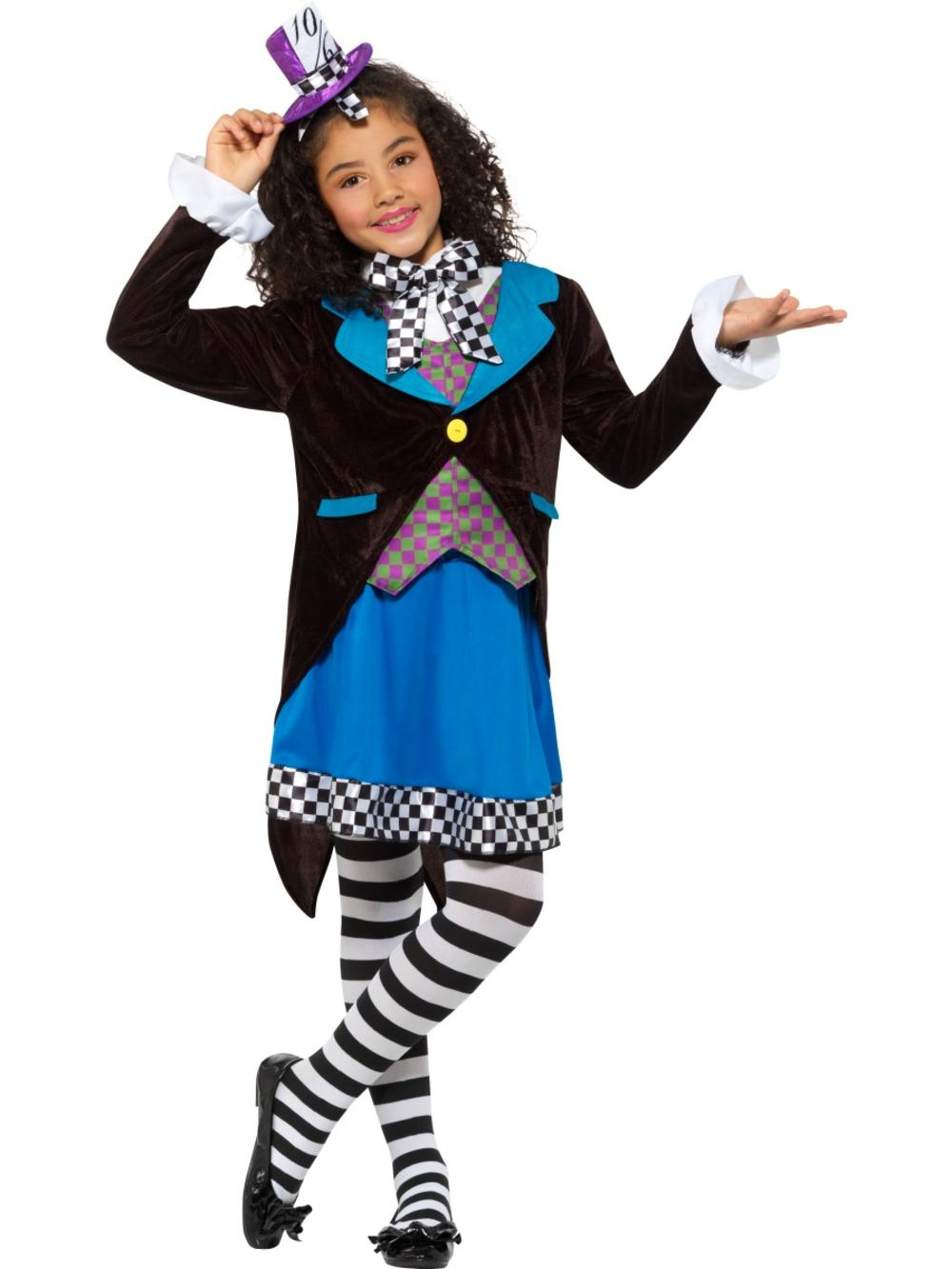 Miss Mad Hatter Girls Fancy Dress World Book Day Character Kids Childs Costume