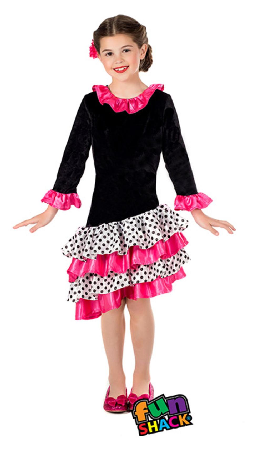 Flamenco Dancer Girls Fancy Dress National Spanish Salsa Dance Kids Costume