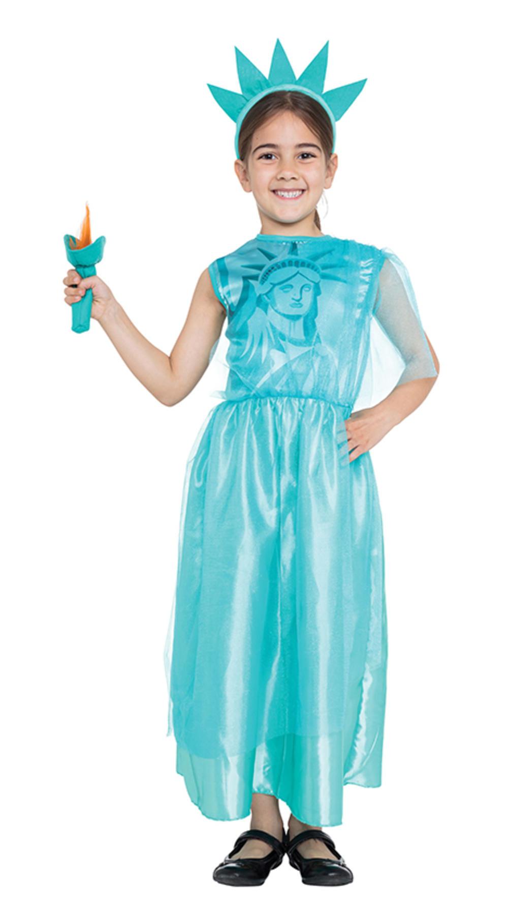 Statue of Liberty Girls Fancy Dress USA American New York 4th July Kids Costume