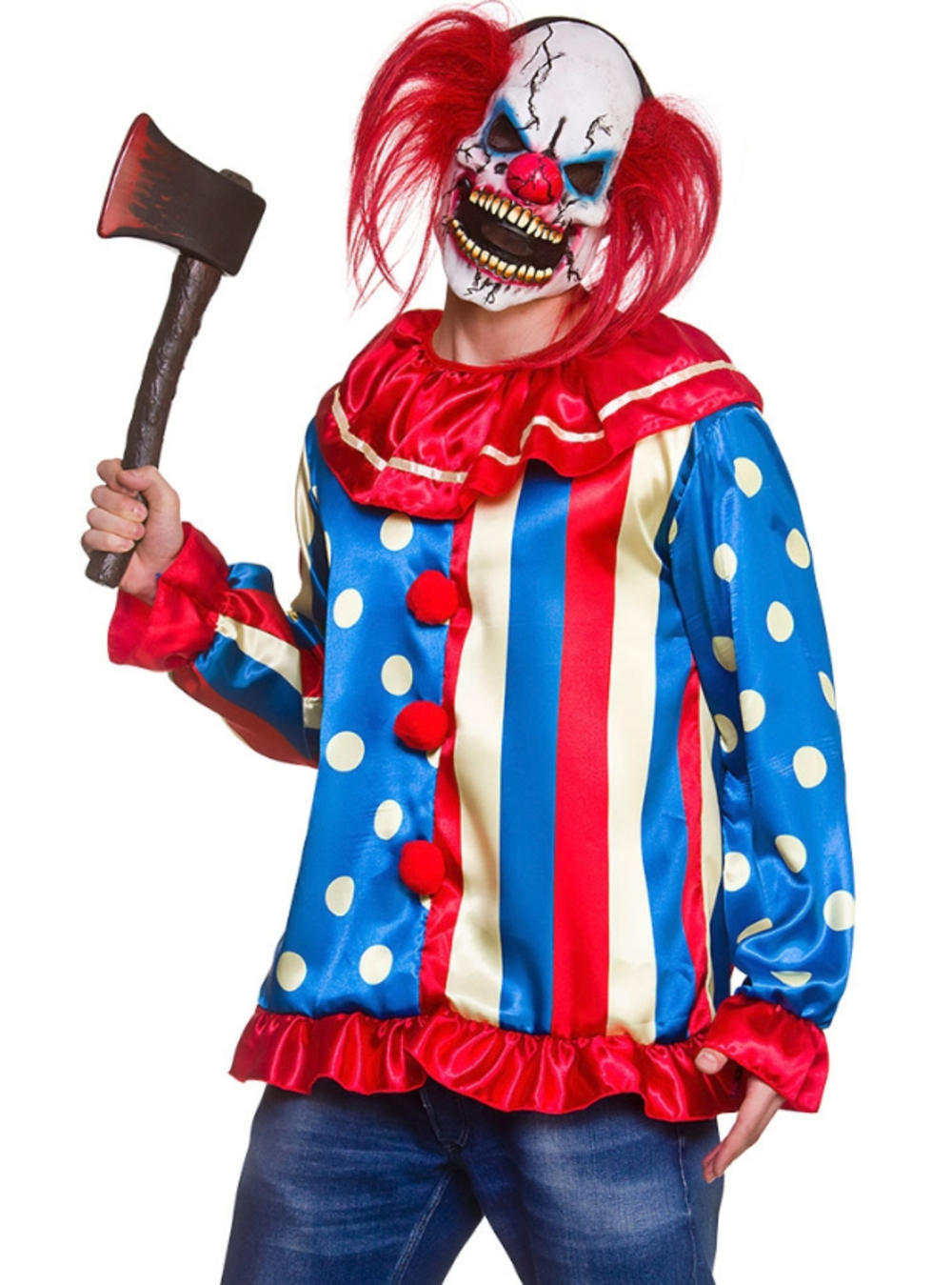 Krazy Killer Clown Mens Fancy Dress Circus Horror Adult Halloween Costume Outfit