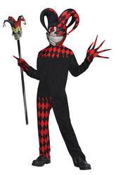 Crazy Jester Clown Boys Fancy Dress Halloween Joker Circus Kids Childs Costume