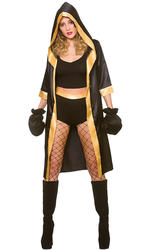 Knockout Boxer Ladies Fancy Dress Sports Champion Wrestler Womens Adult Costume