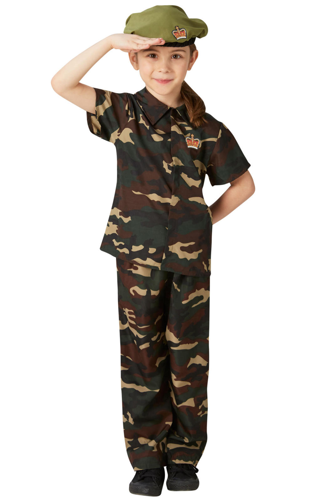 Army Soldier + Beret Kids Fancy Dress Military Camo Boys Girls Childrens Costume
