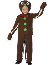 Boys Little Gingerbread Man Kids Fancy Dress Child Christmas Costume Fun Outfit