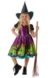 Ombre Witch Girls Halloween Fancy Dress Witches Childrens Kids Costume Outfit
