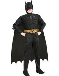 Boys Deluxe Batman The Dark Knight Superhero Fancy Dress Kids Halloween Costume