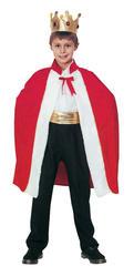 Red King Robe Kids Fancy Dress Christmas Nativity Wise Men Boys Costume + Crown