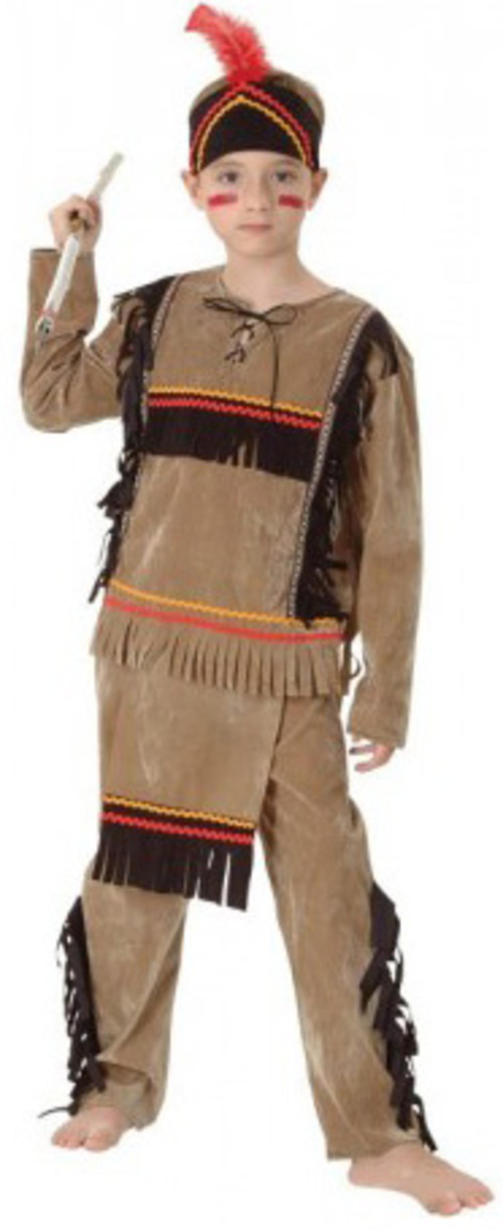 Red Indian Boys Fancy Dress Native American Wild West Kids Book Day Costume