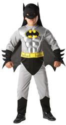 Boys Deluxe Batman Muscle Kids Superhero Fancy Dress Halloween Costume Ages 3-8