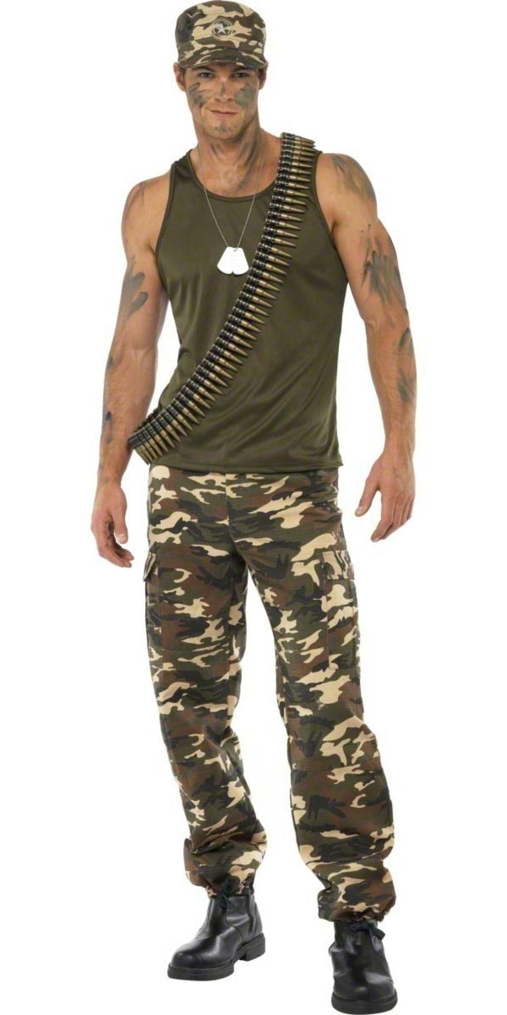 Khaki Combats Army Suit Mens Fancy Dress Camo Military Soldier Adults Costume