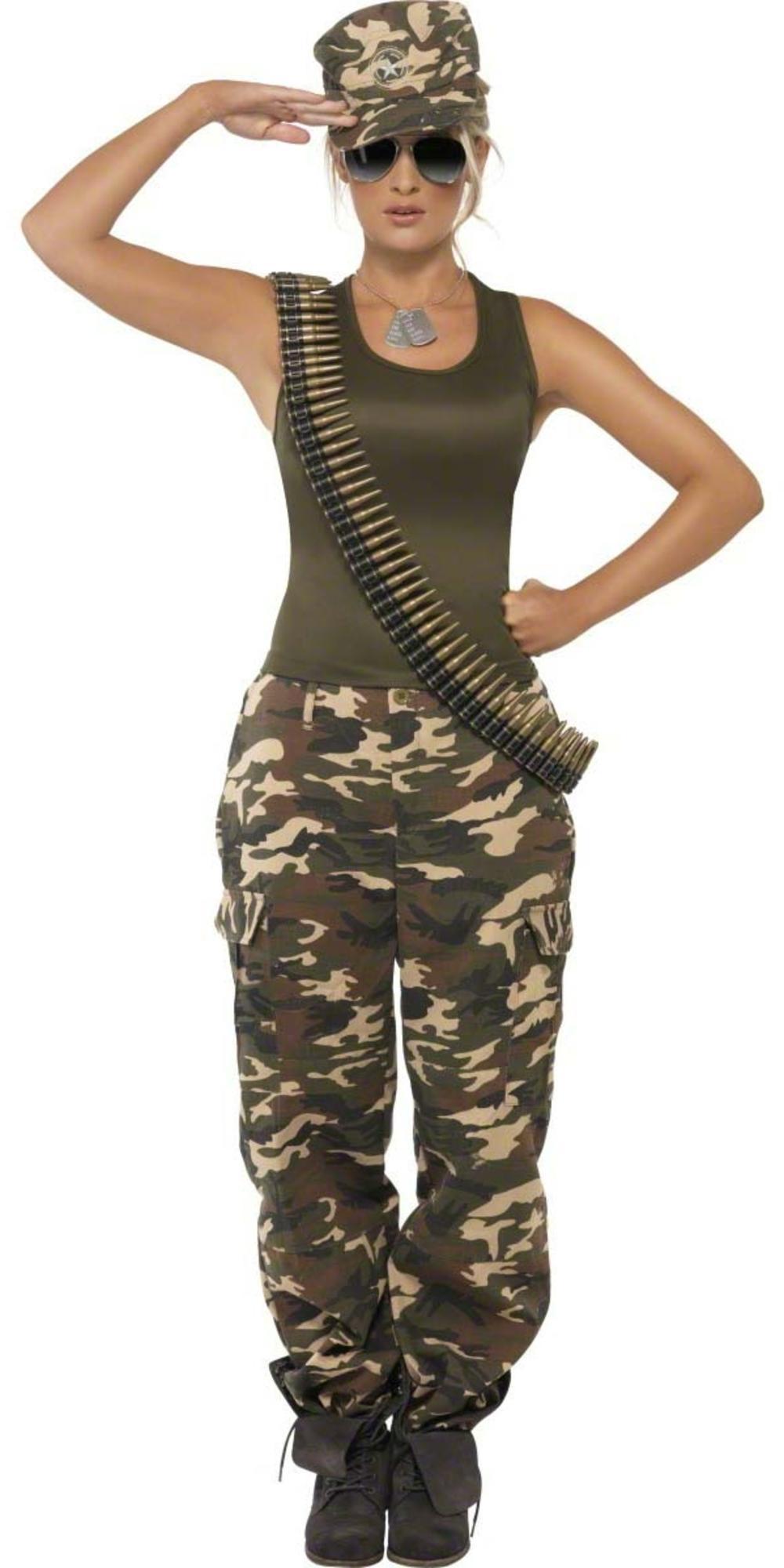 Khaki Camo Army Military Fancy Dress Ladies Trouser Uniform Womens Adult Costume