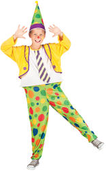 Circus Clown + Hat Boys Fancy Dress Carnival Funhouse Kids Childs Costume Outfit