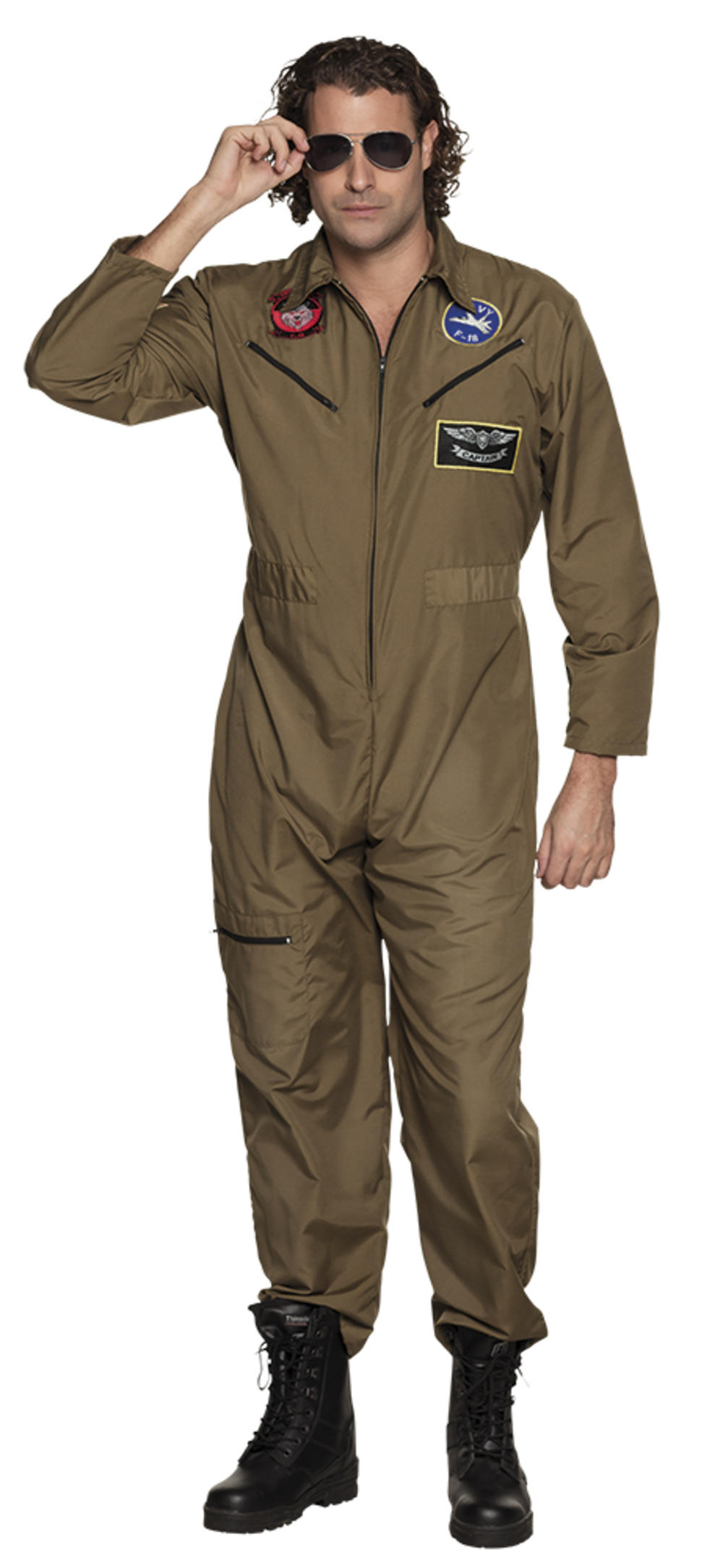 Jet Pilot Mens Fancy Dress Army Air Force Military Uniform Adults Costume New